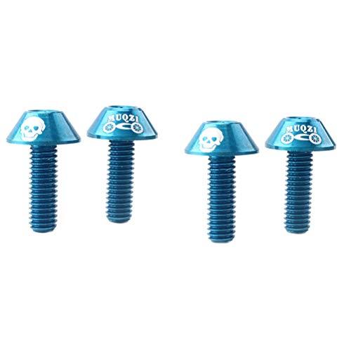 LIOOBO 4pcs boulons de Rotor de Frein à Disque vis de Rotor de vélo pour VTT VTT M6 (Bleu)