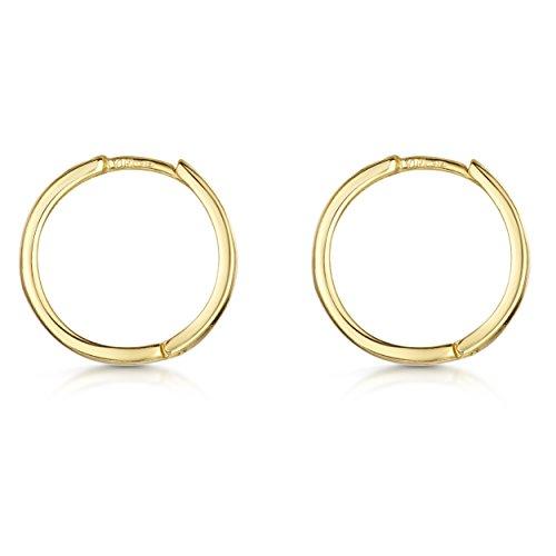 Amberta® 925 Sterling Silber Vergoldet 18K Edle Ringe mit Scharnierbügel – Kleine Runde Klapp-Creolen Ohrringe - Durchmesse 20 mm