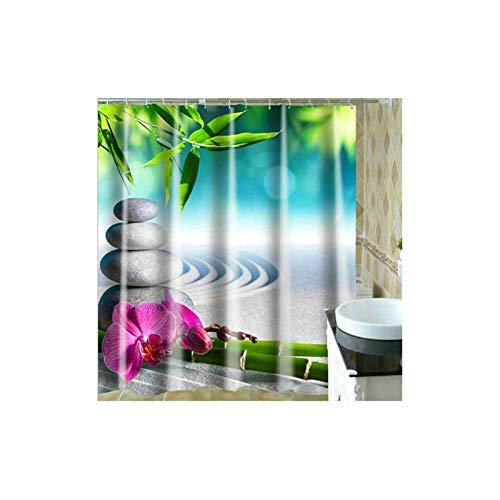 Amody Badezimmer Vorhang Fenster Stein Bambus Blume Sand Duschvorhang Antischimmel Bunt 180x200CM Badvorhänge Fenster (Ohne Matte)