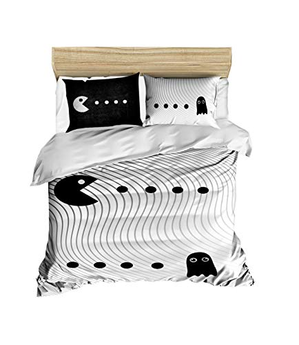 3D Printed 100% Cotton Pacman Bedding Set Boys Girls Bed Set, Full/Queen Size Quilt /Duvet Cover Set, Black White (3 Pcs)