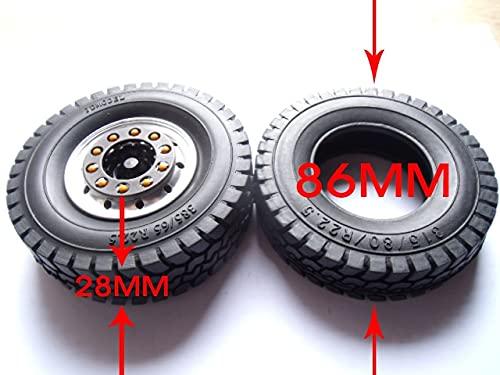 MZWNQ 1/14 para Tractor Tamiya Llanta de Rueda de 1,7 Pulgadas Neumáticos de Goma de 85 mm Ruedas de Piel de neumático 315/80 / R22.5 con Cubo de Rueda de 1,7 Pulgadas para Camiones
