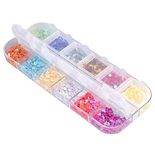 EXCEART 12 Colores de Lentejuelas para Uñas con Caja de Colores Brillantes en Forma de Corazón Pegatina de Parche Manicura Diseño de Uñas Diseño Diy Calcomanías Decoración