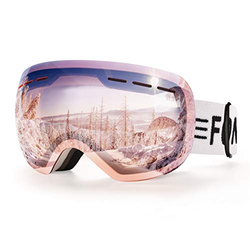 FONHCOO Ski Goggles for Men Women,Anti-Fog OTG Snow Snowboard Glasses with Detachable Lens for Skiing Skating,UV Protection Anti-Glare Pink