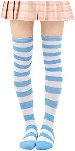DAZCOS Striped Stockings Over Knee Thigh High Socks Anime Preppy Socks Multi color Electric product image