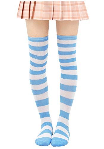 DAZCOS Damen Gestreifte Strümpfe über Knie-Schenkel-hohe Socken Anime Preppy Socken Einheitsgröße Electric blau + weiß