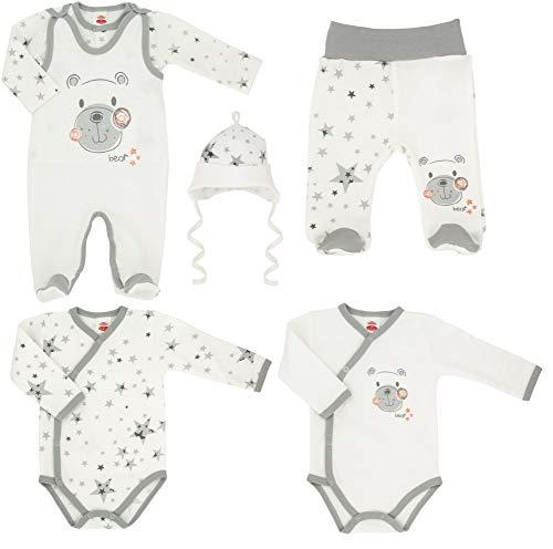 Makoma Baby Erstausstattung Set Unisex 6tlg. Strampler Set mit Langarmshirt Body Hose & Mütze -Teddy- (62)