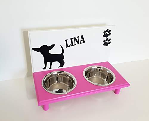Jennys Tiershop Futterbar. Gestalten mit Wunschnamen und Deko. Napfbar für Chihuahua. Hundenapf. Mit Wunschnamen in weiß/pink 2 x 750 ml Hundebar (708a)
