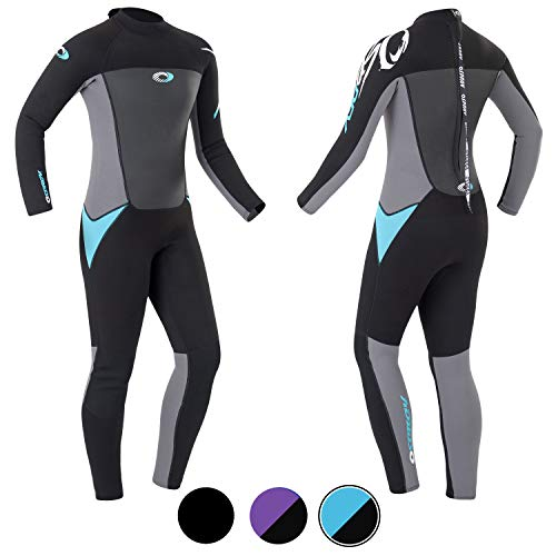 Osprey Origin Full Length Wetsuit Long Traje de Neopreno Largo Completo, Mujer, Negro y Azul, Extra-Small