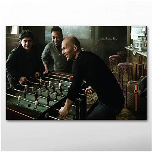 yhyxll Zidane Maradona und Pele Soccer Celebrities Dekor Gemälde Wandkunst Poster und Drucke Leinwand Kunst für Wohnzimmer Dekor-60x90cm No Frame