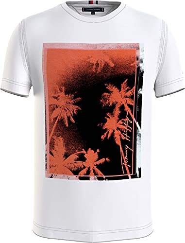 Tommy Hilfiger Palm Photo Print Tee T-Shirt, Bianco, XXL Uomo