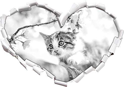 KAIASH 3D Pegatinas de Pared Dulce Gatito en Forma de corazón de Arte de Cerezo en Apariencia 3D Etiqueta de la Pared o de la Puerta Etiqueta de la Pared decoración de la Pared 92x64cm