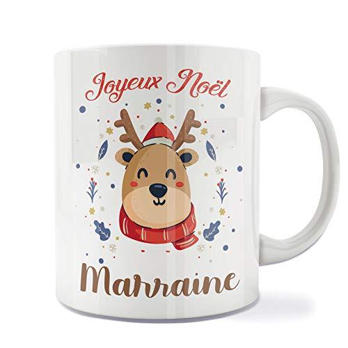 Mug | Tasse | Café | Thé | Petit-déjeuner | Vaisselle | Céramique | Original | Imprimé | Message | Fêtes | Idée cadeau | Renne de Noël - Joyeux Noël Marraine