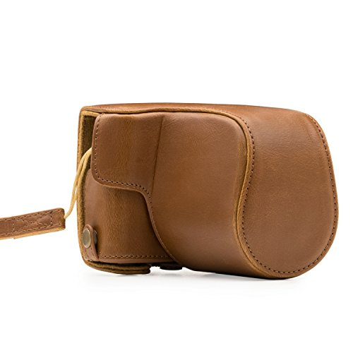 MegaGear Canon EOS M100, M200 (15-45 mm) Ever Ready Leather Camera Case met draagriem en batterij toegang Lichtbruin MG1327