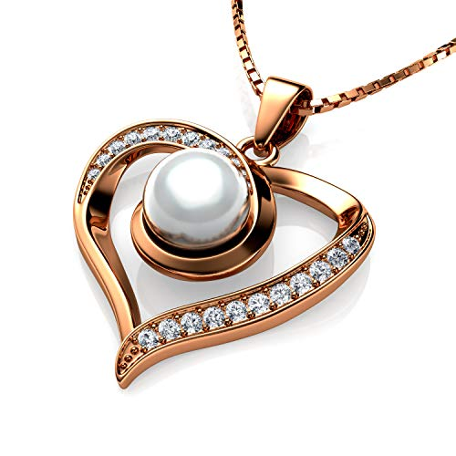 Real Pearl Necklace by DEPHINI - Pearl Pendant with cubic zircoina , 925 silver heart necklace for woman with rare rhodium plating - 18' sterling silver chain + Jewellery Box , Gifts for Women