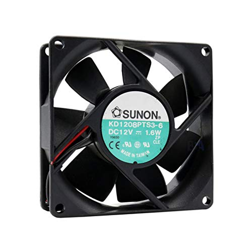 SUNON Ventilador 80 mm 80 x 80 x 25 KD1208PTS3-6 12 V DC 0,13 A 1,6 W Air Fan 8 cm 2 hilos (+/-) refrigeración