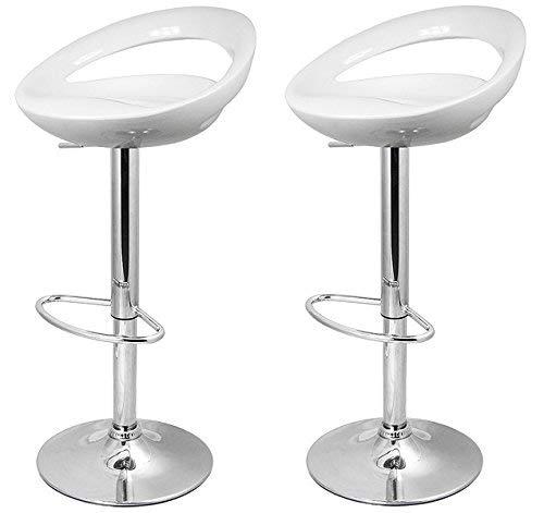 La Silla Espanola - Pack de dos taburetes con asiento redondo en color blanco, en PVC, regulable en altura. 47x44x97 cm, 2 unidades