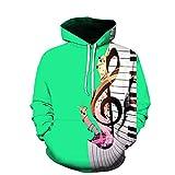Impreso En 3D Notas Musicales De Teclas De Piano Verde Mujeres Hombres Sudadera Hipster Gym Manga Larga con Cordón Sudadera con Capucha Sudaderas con Capucha
