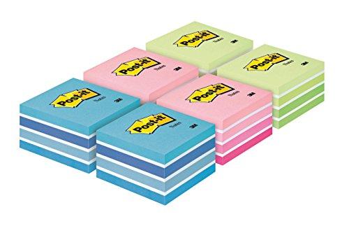Post-it 2028X6 Haftnotiz Würfel, 76 x 76 mm, 70 g/qm, 2 x pastellblau/pastellgrün/pastellpink, 6x450 Blatt