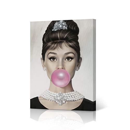 HB Art Design Fashion Icon Audrey Hepburn Pink Bubble Gum Chewing Gum Colored Portrait Iconic Pop Art Canvas Wall Art Print Office Living Room Dorm Bedroom Modern Home Decor Ready to Hang - 17x11