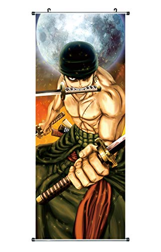 CoolChange Großes One Piece Rollbild / Kakemono aus Stoff, 100x40cm, Motiv: Lorenor Zorro
