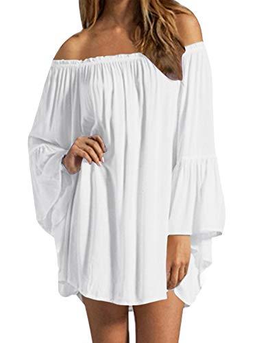 ZANZEA Women's Sexy Off Shoulder Bohemian Chiffon Ruffle Sleeve Blouse Mini Dress Loose Casual Dresses Sundress Unlined-White S