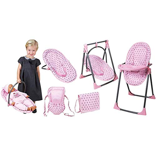 Lissi Convertible Doll Highchair Play Set with Accessories Role Play Toy