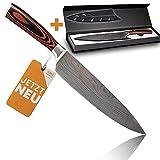 Kochmesser extrem scharf - Klingenlänge 21cm Küchenmesser besonders handlich dank Pakkaholz - Japanisches Messer einzigartig - Profi Knife perfekt als Allzweckmesser