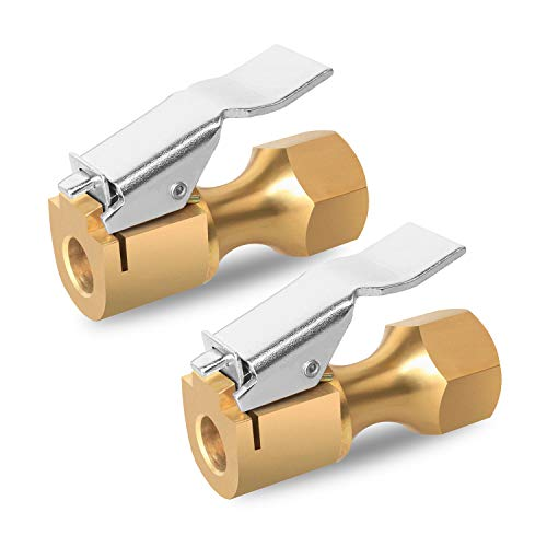 YeeBeny Air Chuck, Heavy Duty Brass Closed Flow Lock On Tire Chuck with Clip, 1/4