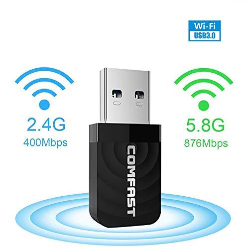 VOKY WLAN Adapter,AC1300 Dual Band WiFi Dongle (867Mbit/s (5GHz), 400Mbit/s (2,4GHz) 802.11ac, USB 3.0,Mini Wireless Network USB, für PC Desktop Laptop, Unterstützung Windows Mac OS 10.9-10.14