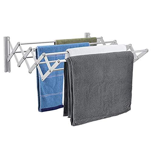 GUOYUN Tendedero Pared Extensible Inoxidable con 4 Varillas Ropa Secado Organización para La Sala Lavandería, Barro, Dormitorio, Área Piscina (Color : Silver, Size : 50x19cm)