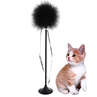 Petter Cat Feather Toys, Suction Cup Pet Teaser Funny Interactive Wand Bell Cat Feather Toy Interactive Teaser Wand Toys Funny Chaser Toys for Kitten