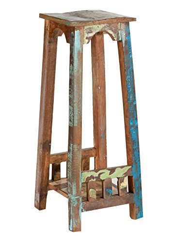 Blumen-Hocker in Handarbeit aus Alt-Holz hergestellt mit 1 Ablageboden 34x34x80 cm   Rivership   Beistell-Tisch lackiert mit starken Gebrauchsspuren im Shabby Chic-Look quadratisch 34cm x 34cm x 80cm