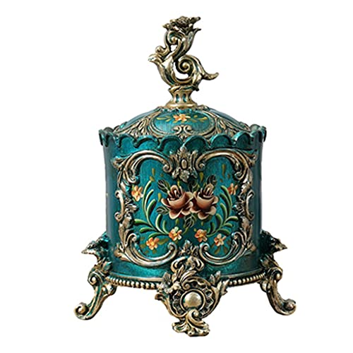 cajas para joyas Caja De Joyería Retro Europea Caja De Joyería De Tubo Redondo Decoración De Tocador Caja De Almacenamiento Caja De Joyería Decoraciones (Color : Green, Size : 30 * 22 * 19cm)