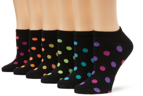 K. Bell Women's 6 Pack Fashion No Show Liner Socks, Black Dots, Shoe Size: 4-10