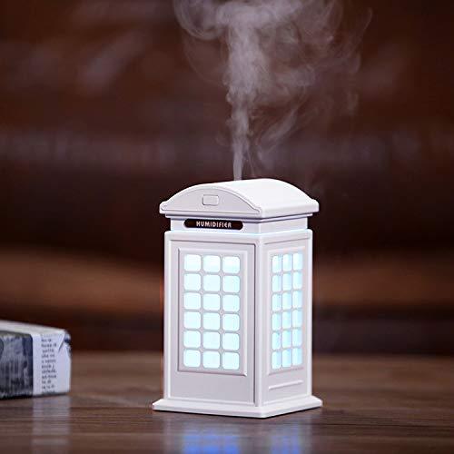 Czznn Humidificador de escritorio USB Teléfono Stand Humidificador Gran Capacidad Retro Art Decoración Escritorio Mini Silencioso Luz de Noche Humidificador Purificador de Aire Blanco-CCC02