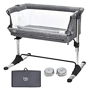 crib bedding and baby bedding baby joy baby bedside crib, portable travel sleeper bed side bassinet w/carrying bag, newborn bassinet to infant, kids crib with detachable mattress, height & angle adjustable, breathable mesh (grey)