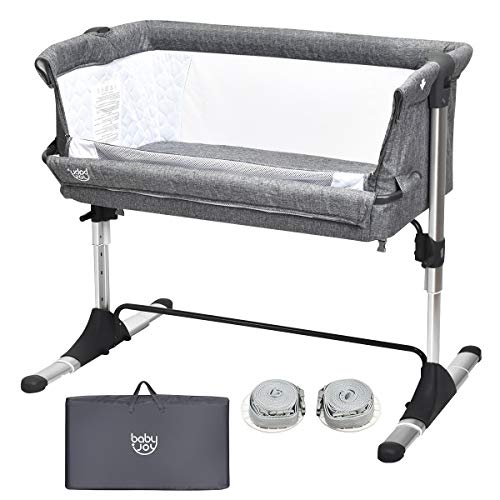 BABY JOY Baby Bedside Crib, Portable Bassinet w/Carrying Bag, Easy Folding, Kids Bed Side Sleeper for Newborn Infant w/Detachable Mattress, Straps, Height & Angle Adjustable, Breathable Mesh, Grey