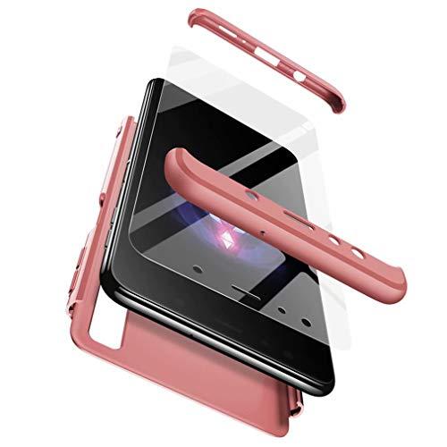 Qsdd Reemplazo para Samsung Galaxy S9 Plus 360°Protección 3 en 1 Funda +1*Protector de Pantalla de Vidrio Templado TPU A Prueba de Golpes Resistente a Los Arañazos Siliconea Case-Oro Rosa