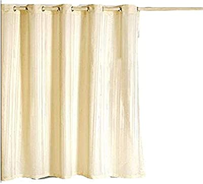 Yellow Weaves™ PVC Self Stripes Plain Shower Curtain Set of 2 Pcs - 52 X 82 Inches (2 Piece, Off-White)
