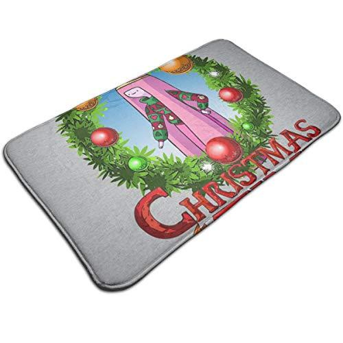 HUTTGIGH Adventure Christmas Time Kranz Prinzessin Bubblegum Cartoon Netzwerk Fußmatte Eingang Rutschfeste Badematte Küche Boden Teppich 49,5 x 80 cm saugfähige Fläche Teppiche