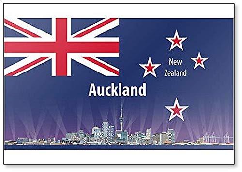 Kühlschrankmagnet, Motiv Auckland City Skyline mit Flagge von Neuseeland