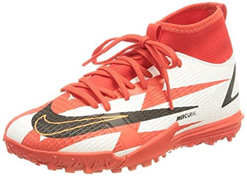 Nike Jr. Mercurial Superfly 8 Academy CR7 TF, Zapatillas de ftbol, Chile Red Black White Total Orange, 35.5 EU