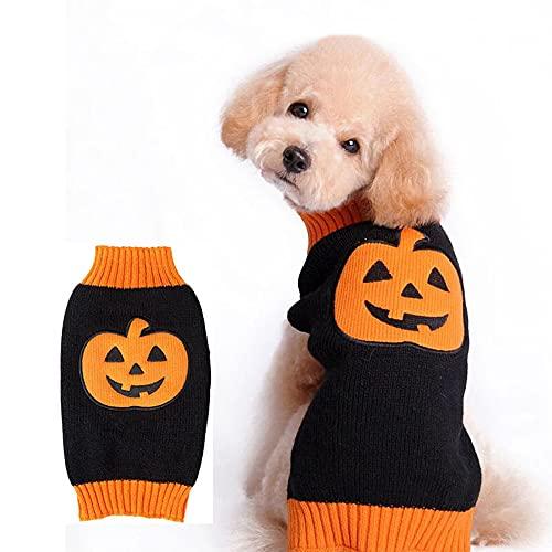 S-Z Halloween Pumpkin Cat Dog Sweater Ropa para Mascotas, Ropa De Punto para Perros Vestidos para Gatos, Ropa para Perros, Sudadera para Mascotas Disfraces para Mascotas