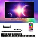 Tira LED TV con control de aplicación, SRUIK Tiras LED 3M operadas por USB para Retroiluminación de 46-65 pulgadas, Sincronización con música, iluminación de precarga, SMD5050 RGB para Android iOS