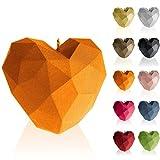 Candellana Vela de corazón Low Poly | Altura: 8 cm | Naranja | Hecho a mano en la UE