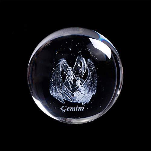 AMITD Laser gegraveerd sterrenbeeld kristallen bal miniatuur 3D kristal handwerk decoratie glas bal decoratie accessoires geschenk (80mm, tweelingen)