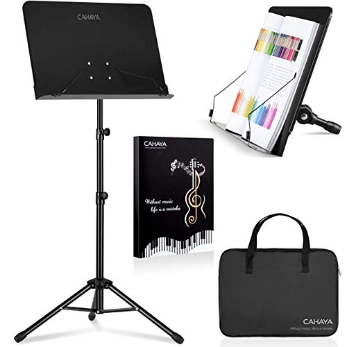 19.75 for CAHAYA 2 in 1 Sheet Music Stand &Desktop Book Laptop Projector Stand Metal Portable Solid Back (Included Carrying Bag &Sheet Music Folder) @Amazon