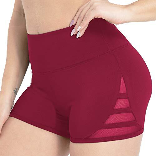 Kipro Womens Training Shorts Elastic Waist Spandex Exercise Fitness Workout Shorts Wine Red XXL