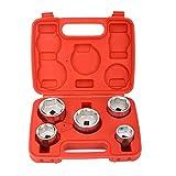 Qiilu 3/8'Kit de extracción de enchufes de filtro de aceite, herramienta de extracción de enchufes de filtro de aceite de metal Tipo de taza 24 mm-38 mm Juego de 5 piezas