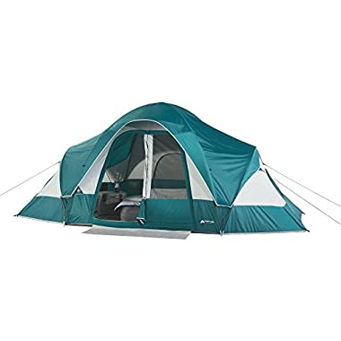 Family Camping Tent for 8-Persons with Removable Center Room Divider and Two Front Doors - Turquoise/Light Grey